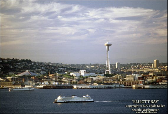 ELLIOTT BAY, Old Seattle Skyline, Space Needle, Keller photo