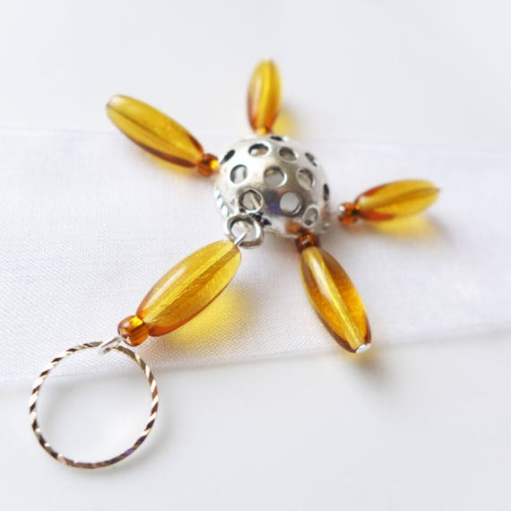 Vincent's Sunflower - Five Snag Free Stitch Markers - Fits Up To 9.0mm (13 US) - Last Sets