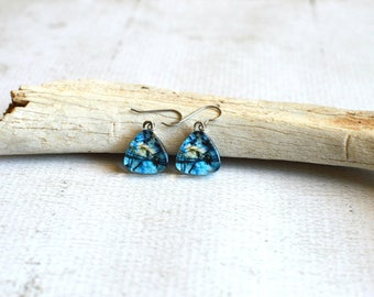 Electric Blue Earrings- Glass Titanium Earrings- Made from Upcycled Paper- Hypoallergenic OOAK Titanium Dangle Earrings- Blue and Yellow