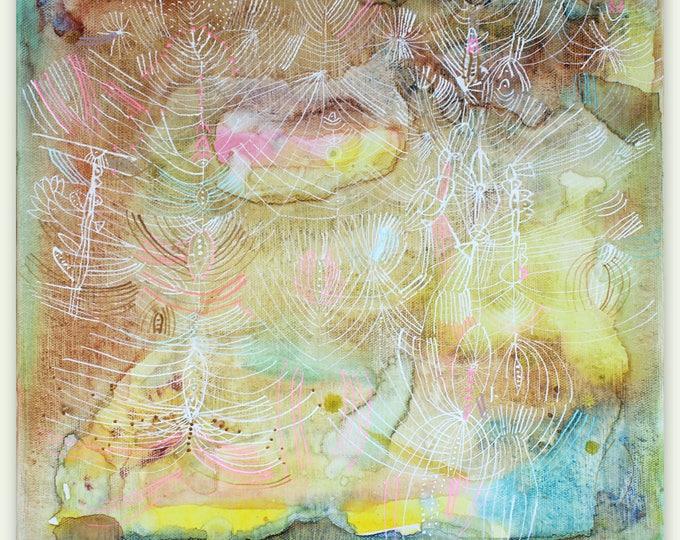 "Featured listing image: Ametrine - original 12"" x 12"" painting on canvas"