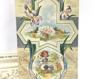 Vintage Easter Postcard, Vintage Postcard, Easter Postcard, Easter Ephemera, Silver Cross with a Little Girl Feeding a Squirel, 1913