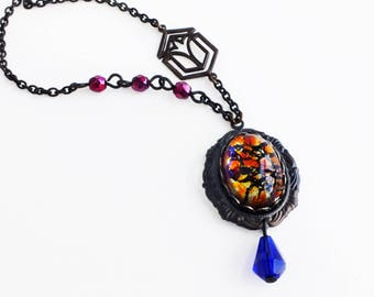 Dragons Breath Fire Opal Necklace Red Pink Blue Vintage Iridescent Glass Pendant Beaded Necklace Art Deco Jewelry