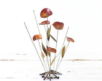 Mid Century Modern Metal Flower Sculpture / Brutalist Flower Sculpture / Mid Century Copper and Brass Flower Sculpture