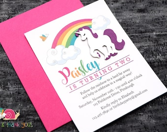 Rainbow Unicorn Birthday Party Invitations · A2 FLAT · Magical Rainbow Party   Enchanted Unicorn Birthday Invites