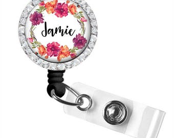 Retractable Badge Reel | Personalzied Badge Holder | Badge Clip | Nurse Badge | Floral Wreath (789)