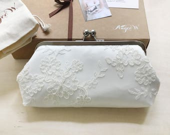 Alencon Lace Bridesmaids Clutch in Ivory | Bridesmaids Gift | Wedding Gift