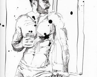 """Beautiful and Handsome Men with Coffee Series #12 - 9 x 12"""" ink on paper - original drawing by Brenden Sanborn"""