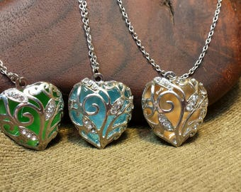 3 Colors ~ Glow in the Dark Silver Heart Filigree Necklace 22""