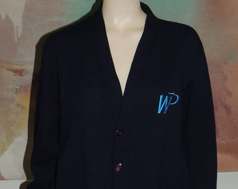Western Pacific Airlines Navy Blue Cardigan Sweater size M