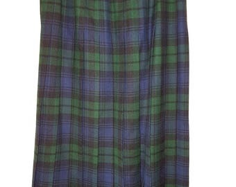 Vintage 80s Kilt Skirt, Blue and Green Plaid / Tartan Pleated Preppy Skirt, Size 8