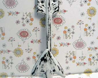 Arrow Cast Iron Boho Shabby Chic Wall Hook WHITE Bohemian Home Decor