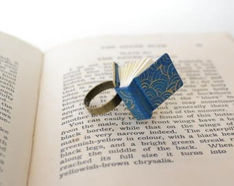 Gold Blue Night Book Ring. Blue book with gold swirls.Book lover gift
