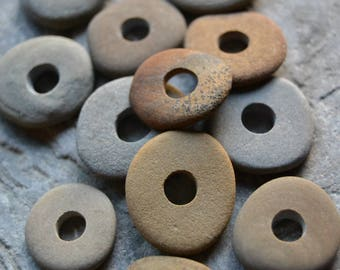 Natural Beach Stone Beads - Drilled Beach Stones, Brown and Gray, Large Hole Beads, Thin Spacer Stacker Beads