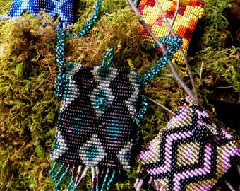Medicine Bag for Life-Beaded Necklace Bag of Natures Earth Elements