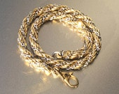 Monet Silver and Gold Twisted Rope Chain Bracelet - Vintage Sparkle Signed Chain Link Bracelet