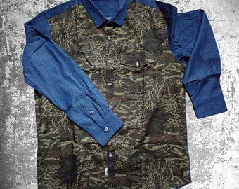 Button-down Shirt/ camo print with denim