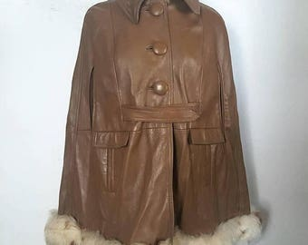 SALE Sheep Shearling Fur and Brown Leather Poncho / bohemian jacket coat / S-M