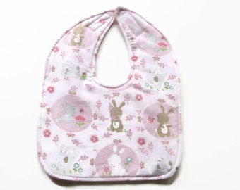 Pink Bunnies Flannel Baby Bib - Bunny Baby Bib - Baby Girl Flannel Bib - Ready To Ship