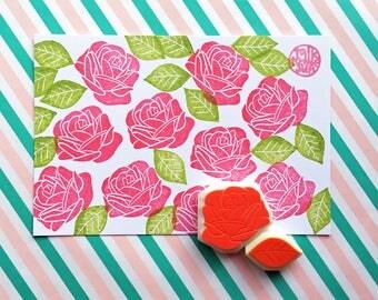 rose rubber stamp set, flower stamp, leaf stamp, botanical hand carved stamps, floral pattern stamp, diy wedding invitations, set of 2, no1
