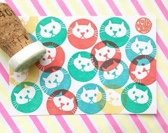 cat stamp. animal hand carved rubber stamp. cute pet stamp. diy birthday invites. baby shower favor bag decor. gift for kids. mounted