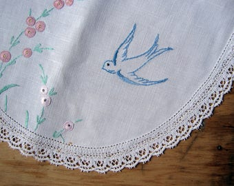 large embroidered doily with bluebirds and pink flowers - 1930s cottage decor or textile art supply