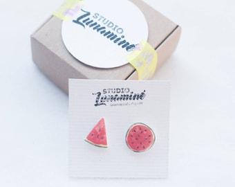 Kawaiiness, Tropical Earrings, Botanical Jewelry, Summer Earrings, Fairy Kei, Watermelon, Fruit Earrings, Cute Earrings, Earrings for Girls