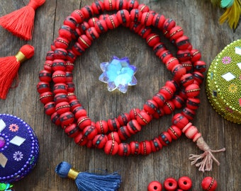 Deep Red, 10mm Yak Bone Beads from Nepal, inlaid with Turquoise, Coral and Wire, 10 beads, Malas, Yoga, Boho, Tribal Jewelry / Supplies