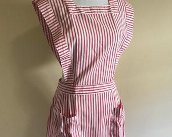 Vintage Candy Striper Uniform, 1950s Nurse Uniform, Red and White Stripe Pinafore, Candystriper Pinafore Dress, Size Large