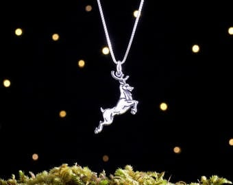 Sterling Silver Leaping Reindeer - House Baratheon Stag - Double Sided - (Pendant or Necklace)