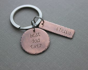 best dad ever keychain - Copper Hand Stamped Disc with name bars - Rustic Antiqued Style  - gift for grandpa, dad, papa from children