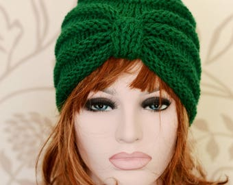 Bottle Green Knitted Turban Hat, Chunky Knit, Knit Hat, UK Hats, Dark Green Hat, Womens Hat, Winter Hat