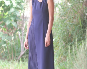Navy Plisse  Dress size 3  M-L  / Asymmetrical Dress / Long women's dresses / Midi  dress / Party dress / Sleeveless dress