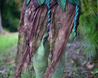 Nuno Felted Skirt-Pixie Belt-Woodland Costume-Nymph Skirt-Tree Out Fit-Fairy Leaf Silk Belt-Tu Tu-Skirt-Festival Wear-Burning Man-OOAK
