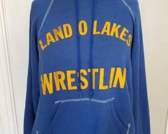 Vintage Blue Bassett Walker Land O Lakes Wrestling Sweatshirt Size S Made in U.S.A.