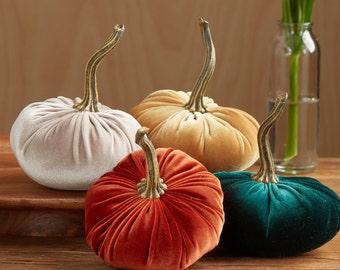 Scented Velvet Pumpkins, SET of 4:  rusty orange, mustard, dark green, light taupe brown