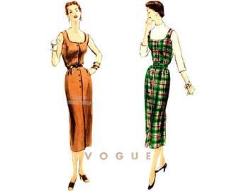 1950s Jumper Pattern Vogue 8053, Sleeveless Sheath Dress, Easy Vintage Sewing Pattern, Bust 32 Uncut