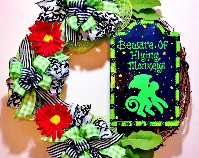 FREE SHIPPING Beware of Flying Monkeys Wizard of Oz - Welcome Door Wreath