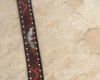 The Vintage Western Brown Leather Navajo Eagle Metallic Belt
