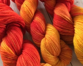 "200 yards Hand Painted Heavy Worsted/ Aran Weight Yarn, Knitting Yarn, Crochet Yarn, Singles Yarn,  ""Sweet Roses"" Superwash Merino Single"