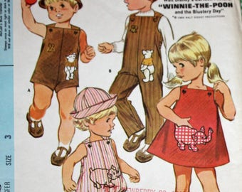 Vintage 1960s Sewing Pattern, McCall's 9563, Toddler's Playsuit, Coverall, Rompers, Jumper and Hat,  Winnie The Pooh Trim, Toddler's Size 3