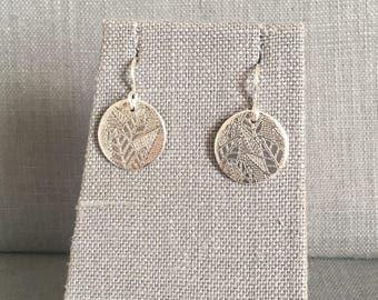 Etched Leaf Earrings - Silver Leaf - Silver Disc Earrings - Dangling Earrings - Etched Earrings - Nature Themed - OOAK Earrings - Leaves