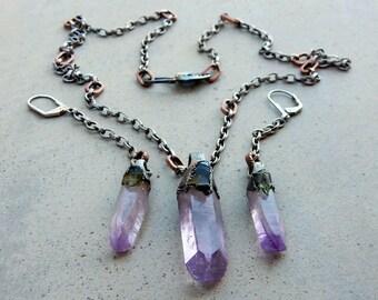 CUSTOM MADE for SHERRY A., Lemurian Vera Cruz Amethyst and Moldavite Necklace Earring Set, Ancient Wisdom, Cosmic Consciousness, Love