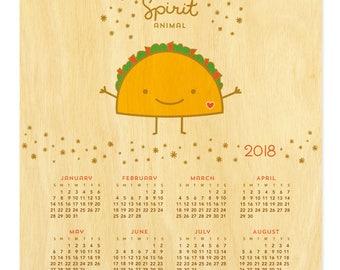 Taco Spirit Animal Calendar - 2018 Hanging Calendar - Real Birch Wood - Tacos - My Spirit Animal - WCAL027