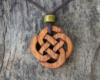 Hand Carved Celtic Knot Necklace, Rosewood Celtic Infinity Knot Pendant, Irish Made Gifts, Allergy Free Jewelry, Perfect Wood Gift For Men