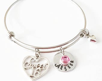 Sweet 16 Bangle Bracelet, 16th Birthday Gift, Gift for Daughter, Niece gift, Personalized Gift,