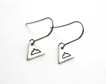 SALE -Silver Mountain Earrings -Hand Stamped Triangle Mountain Charm -Surgical Steel Earrings -Adventure Jewellery -Everyday Simple Earrings