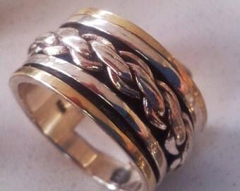 Elegant Spinner ring for man silver gold Israeli jewelry Meditation Rings