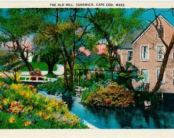 Vintage Cape Cod Postcard - The Old Mill in Sandwich (Unused)