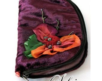 Summer Bouquet Needle Book | Purple, Red, Orange, Pink & Red | Elegant Jewelry Storage for Home or Travel | Velvet, Silk, Rayon | Handmade
