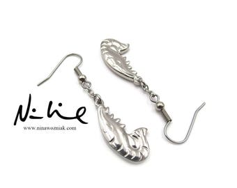 NEW Dangling Stainless Crayfish Earrings - Surgical Steel Hook - Hypoallergenic (ERSS182)